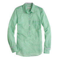 Stripe cotton-silk popover - shirts - Women - J.Crew