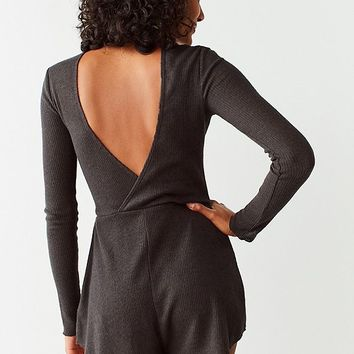 Out From Under Felicity Cozy Ribbed Open Back Romper   Urban Outfitters