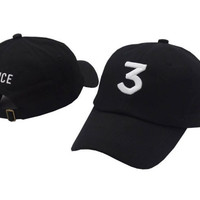 CHANCE 3 Embroidered Baseball Sports Cap Hat -Black