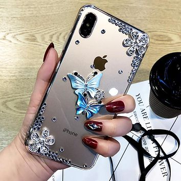 Butterfly Diamond Flower Rhinestone Case Cover For IPhone 11 Pro Max XR XS Max X 8 8Plus 7 7Plus 6 6S Plus 5 5S SE Phone Case