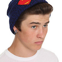 DC Comics Superman Man Of Steel Logo Blue Marled Beanie | Hot Topic