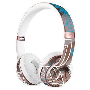 Brown Surface with Blue and White Whymsical Floral Pattern Full-Body Skin Kit for the Beats by Dre Solo 3 Wireless Headphones