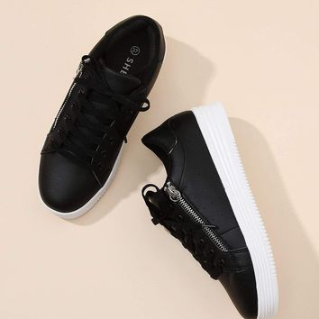 Zipper Side Lace Up PU Sneakers