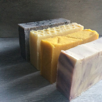 4 pack you choose the soap, organic soap, artisan soap, unscented, essential oils, 100% natural, cold process soap