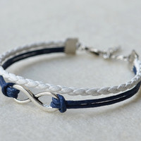 Silver Infinity Bracelet With Dark Blue Wax Cord and White Braid Leather, Birthday Gift, Vintage bracelet, Gift, Blessing Bracelet