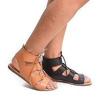 Stardust04S By Bamboo, Open Toe Gladiator Lace Up Flat Sandals