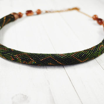 OOAK Bead crochet rope, bead necklace, tube necklace, green necklace, vintage necklace, crochet necklace, for day, gift for her, bronze, red