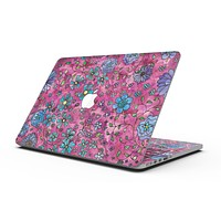 Floral Pattern on Wine Watercolor - MacBook Pro with Retina Display Full-Coverage Skin Kit