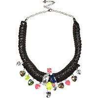 River Island Womens Black cord and chain statement necklace