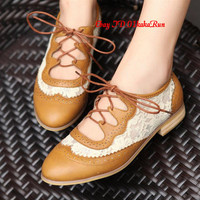 Womens Shoes Platform Wedge Med Heels Lace Up Creeper Flats&Oxfords US 5-US 9