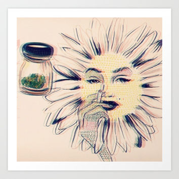 Trippy Sunflower only thing that won't die Art Print by Allisonlynna
