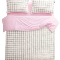 Athens Grid Lines in Baby Pink Cover Set