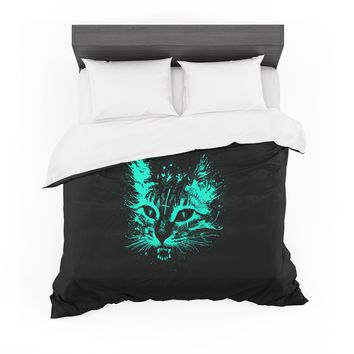 """Barmalisirtb """"Angry Cat"""" Black Blue Digital Featherweight Duvet Cover"""