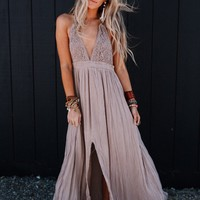 Carmen Crochet Front Slit Maxi Dress - Mocha