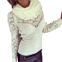 Hot  2016 New fashion spring autumn good quality hollow sexy Gold buttons sweater women sweaters and pullovers