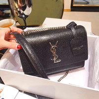 YSL Silver Leather Crossbody Shoulder Bag