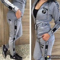 Moschino Hooded Cardigan Jacket Coat Pants Trousers Set Two-Piece