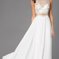 Sleeveless Floor Length Dress with Lace Bodice