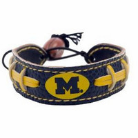 Michigan Wolverines Team Color Football Bracelet