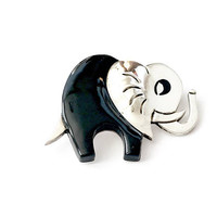 Sterling Onyx Elephant Brooch, Taxco Mexico Figural Elephant Pin, Black Enameling, Lucky Elephant Trunk Up, Multi Dimensional, Vintage 1970s