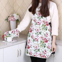 new 3 pieces/set kitchen Organizer  apron for women Chefs baking Cooking work Apron Tablier Pinafore Peony pattern