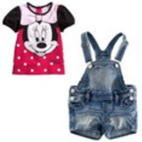 Retail Fashion 2014 Cartoon Girls Minnie Mouse Summer Clothes Baby Suits Kids T Shirt + Jeans Overalls Children  Set ATZ032 - Default