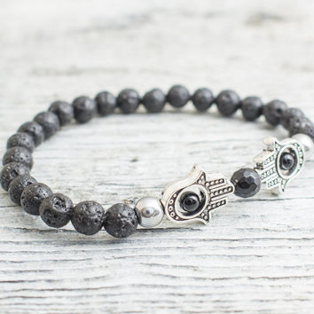 Black lava stone beaded silver Hamsa hands stretchy bracelet, made to order yoga bracelet, mens bracelet, womens bracelet