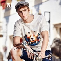 Summer Strong Character Pattern Short Sleeve Slim England Style T-shirts [7951306307]