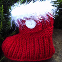 Handknit  baby Santa booties / shoes. Newborn to 3 months. Unisex. Red and white.
