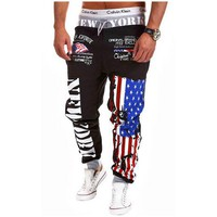 New Men's Pants Sweatpants  Printing Casual Trouser Fashion Bodybuilding Fitness Sweat Pants Plus Size M-4XL