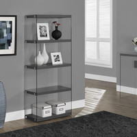 """Glossy Grey Hollow-Core/Tempered Glass 60""""H Bookcase"""