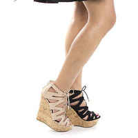 Booth47V by Bamboo, Corset Lace Up Gladiator Corkscrew Platform High Wedge Heels