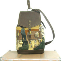 leather Backpack  with  leather  applique and painting. small town.  brown backpack