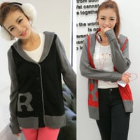 Casual Shawl Collar Letter R Color Blocking Women Cardigan Sweater Outwear Tops