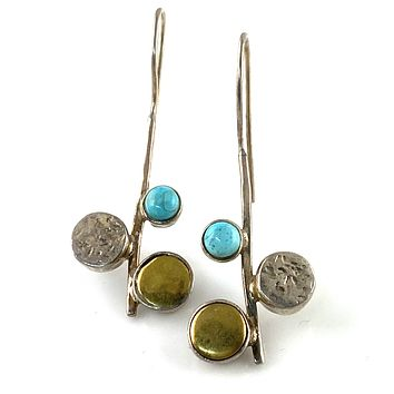 Turquoise Two Tone Solid Sterling Earrings