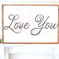 SVG DXF Love You Cut File Cutting File Commercial Use Instant Download Silhouette Studio Cameo Cricut Farmhouse Wedding Love