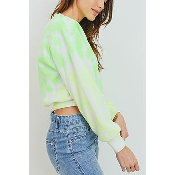 Long Sleeve Round Neck Tie Dye Fleece Sweatshirt