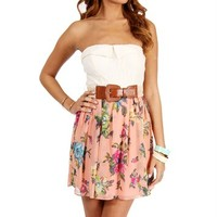 Peach/Yellow Lace Floral Belted Dress