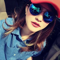 Blue Double Nose Rounded Frame Sunglasses