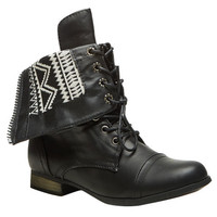 Aztec-Inspired Foldover Combat Boot | Wet Seal
