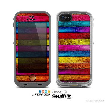 The Neon Color Wood Planks Skin for the Apple iPhone 5c LifeProof Case