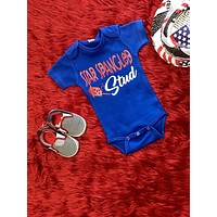 Summer 4th Of July Star Spangled Stud Onesuit