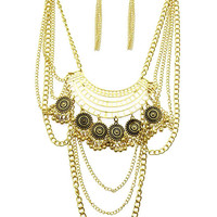 Bohemian Multi Layered Necklace and Earring set