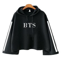 KPOP BTS Bangtan Boys Army Fashion Crop Top Striped Hooded   EXO WE ARE ONE Hoodie Sweatshirts Pullover Tops Women Casual Long Sleeve Hooded Hoody AT_89_10