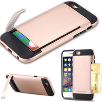 i6 Luxury Beatles Armor Case For Apple iphone 6 4.7inch Durable Protect Kickstand Hard Back With One Card Holder Cover Shell