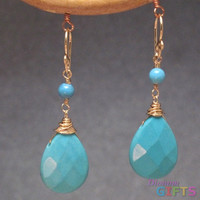 """Turquoise rondelles linked with larger drops, 1-1/2"""" Earring Gold Or Silver"""