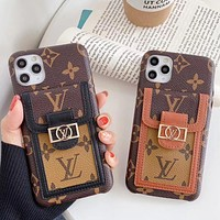 Louis Vuitton LV new iPhone11promax mobile phone case with card 7/8plus mobile phone holder xs/xr leather soft shell