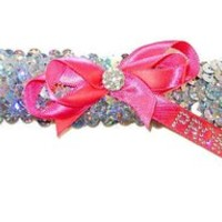 Hologram Sequin Prom Garter with Hot Pink Bow and 2016 Ribbon