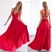 Red Chiffon Simple Long Prom Dresses