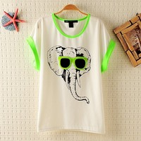 Loose Elephant Pattern T-shirts for Summer